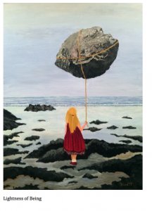 A girld stands gazing out at the ocean, holding a giant, floating boulder that some people think is an asteroid.