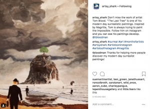 Artsy_Shark has thousands of art-loving followers who recently saw this post promoting my painting work.
