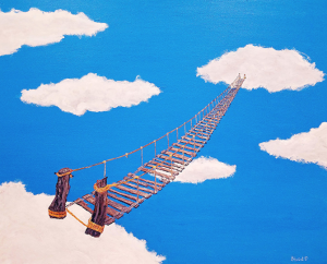 An old wooden bridge stretches from one cloud to another.