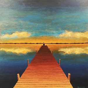 A man in a bowler hat sits at the end of a pier staring off into either the sunset or sunrise, waiting for what's next.