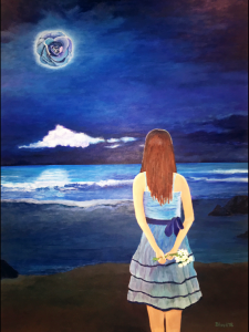 A girl on a beach holding a bouquet of flowers stares out at the moon ... which is actually a blue rose!