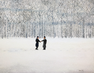 Two men shake hands in a snowstorm, set against a canopy of trees.