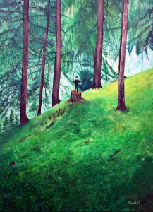 "There's a lot of green in my most recent painting which measures 36"" x 48"""