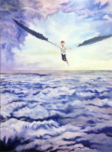 My most recent painting takes you above the clouds.