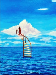 A spiral staircase rises out of the ocean with a woman in a long, red dress standing atop it.